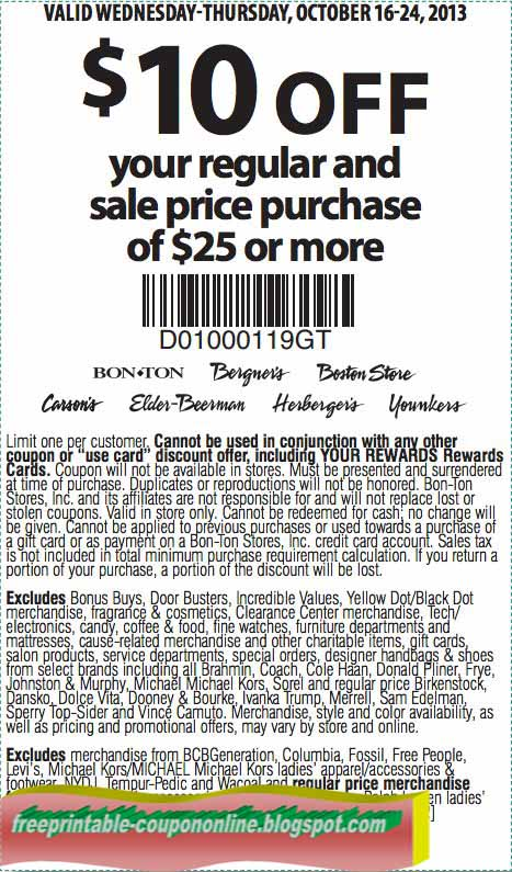 image regarding Bon Ton Printable Coupon referred to as Carson printable discount coupons blogspot : Harcourt outlines coupon codes