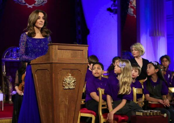 Kate Middleton re-wore a royal blue embellished Jenny Packham gown that she last wore at Bollywood Gala in Mumbai in 2016