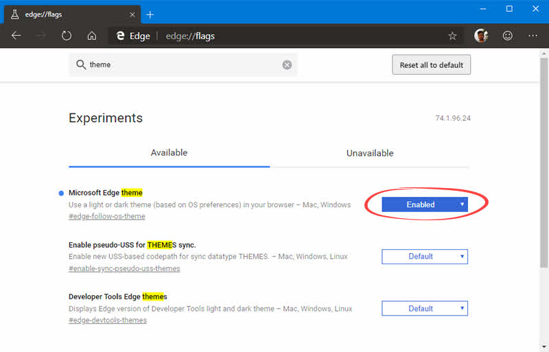 How to enable the hidden Dark Theme on Chromium based Microsoft Edge