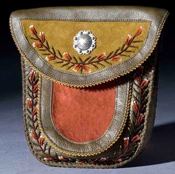 Embroidered Leather Pouch by Diane Louse Paul