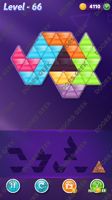 Block! Triangle Puzzle 7 Mania Level 66 Solution, Cheats, Walkthrough for Android, iPhone, iPad and iPod