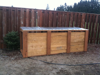 Photo of a three bin compost system built by the author. https://trimazing.com/