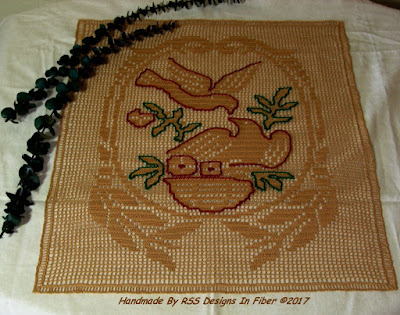 Filet Crochet of 2 Birds Nesting - Handmade by Ruth Sandra Sperling - RSS Designs In Fiber