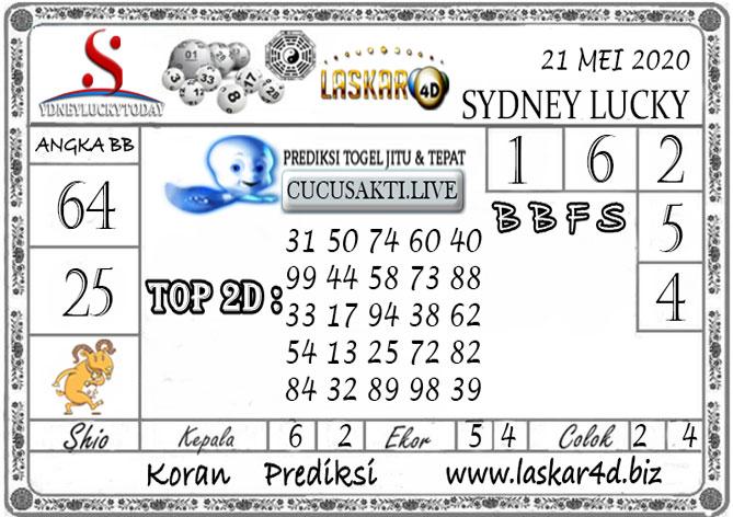Prediksi Sydney Lucky Today LASKAR4D 21 MEI 2020
