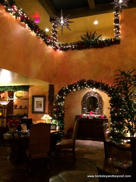 lobby at Christmas at Avila La Fonda Hotel in Avila Beach, California