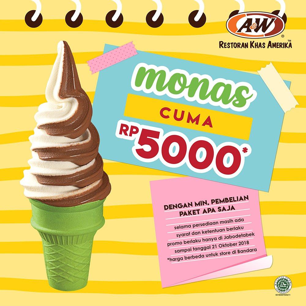 A&W - Promo Diskon 50% Cone Ice Cream atau Monas di Pembelian kedua