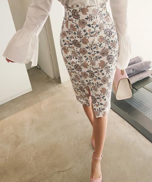 Floral Slit Pencil Skirt