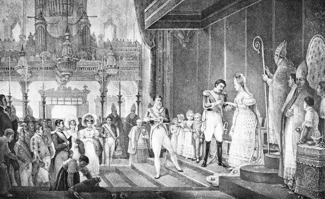 Casamento de D. Pedro I com a princesa Amélia de Leuchtenberg, celebrado por D. José Caetano [in Debret, Jean-Baptiste, Viagem pitoresca e histórica ao Brasil, p. 275].