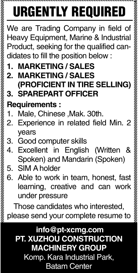 Lowongan Kerja PT. Xuzhou Construction Machinery Group