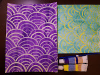 2 scallop patterns one with purple background and yellow swirls, the other with teal background and yellow swirls
