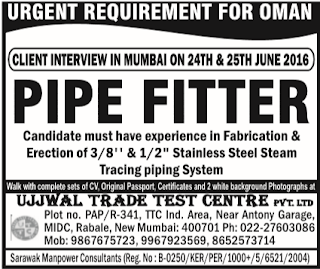 pipefitter jobs in oman