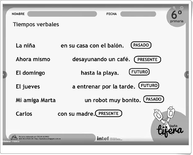 """""""Tiempos verbales"""" (Fichas recortables de Lengua Española de Primaria)"""