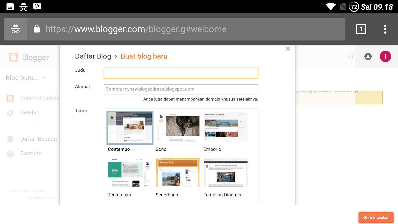 bikin blog lewat android