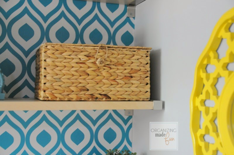Miscellaneous things organized inside a basket weave box in the home office :: OrganizingMadeFun.com