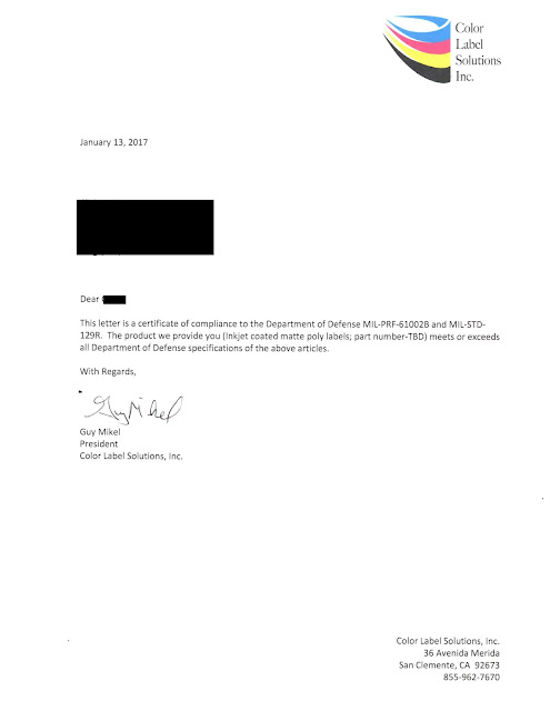 Inkjet Coated, Color, MIL-SPEC Compliance Letter