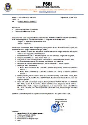 Pendaftaran Kursus Wasit Sepakbola C3 Dan C2