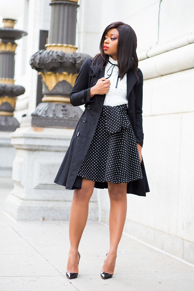 chicwish polka dot blouse, mixing polka dot, trench coat, www.jadore-fashion.com