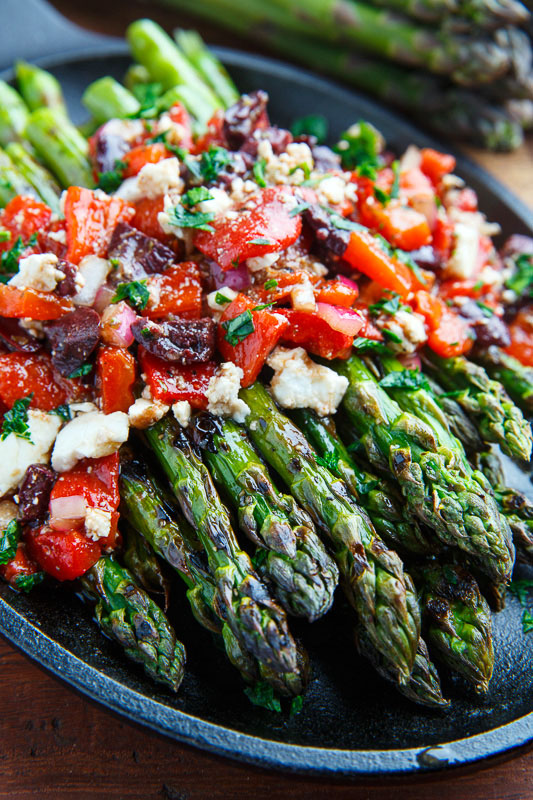 Grilled Asparagus with Marinated Roasted Red Peppers, Feta and ...