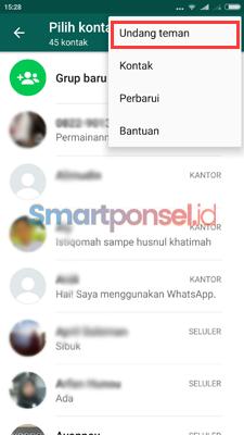 Mengundang teman di WhatsApp via aplikasi lain