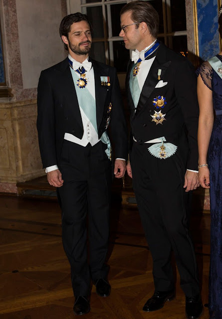 Queen Silvia of Sweden, Crown Princess Victoria of Sweden and Prince Daniel, Prince Carl Philip of Sweden attended the banquet held for Tunisian President Beji Caid Essebsi and wife Saida Caid Essebsi
