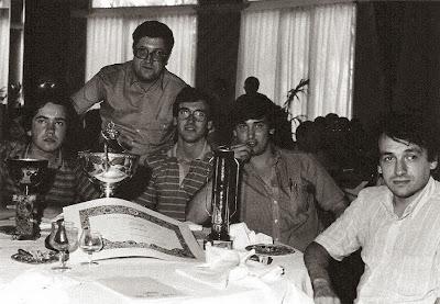 Los ajedrecistas del Club Ajedrez Terrassa Ubach, Joan Clotet, Santiago Carol y Farré y Josep Flores