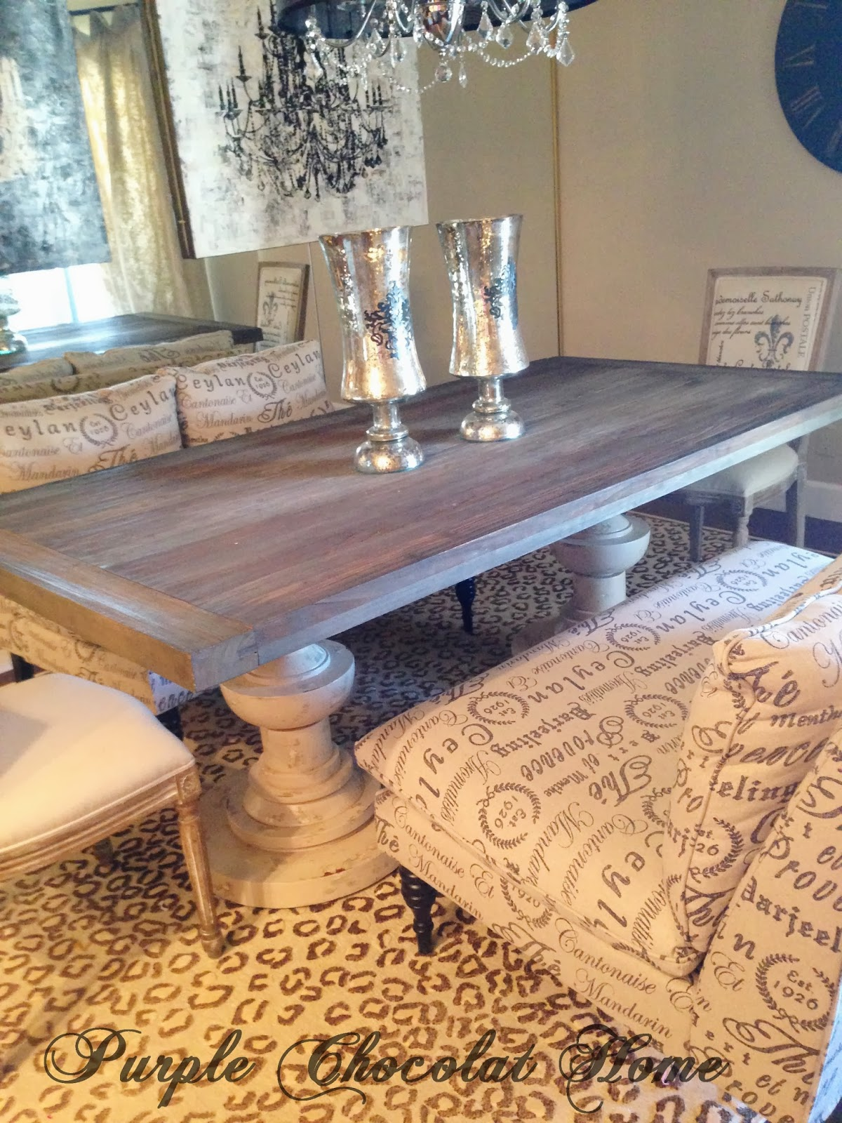 Reclaimed Wood and French Script Dining Table & Reclaimed Wood and French Script Dining Table - Purple Chocolat Home