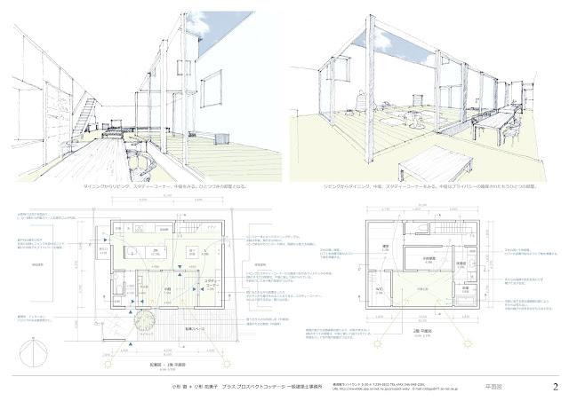 中庭を囲む穏やかな家 平面計画と中庭のイメージ