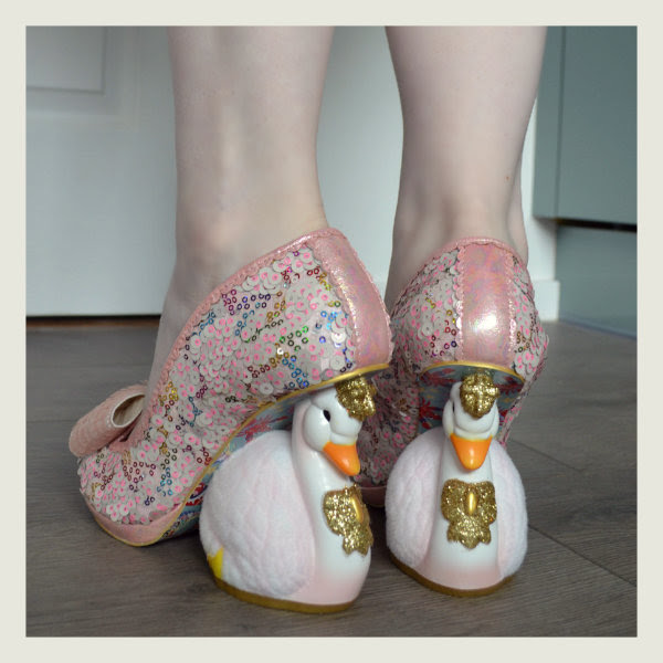 wearing irregular choice pink savan swan character heels
