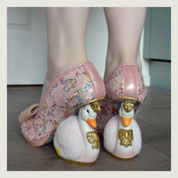 wearing irregular choice pink savan swan character heels