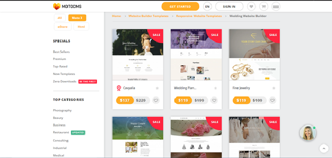 MotoCMS Wedding Website Builder