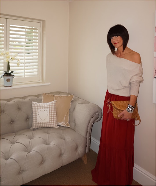 My Midlife Fashion, Zara cashmere off the shoulder jumper, cocobay swimwear hipanema tahiti bracelet, zara maxi skirt, lotus shoes woven crossbody bag