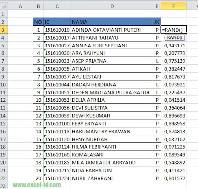 Cara saya Mengacak Data yang Telah Terurut pada Ms. Excel