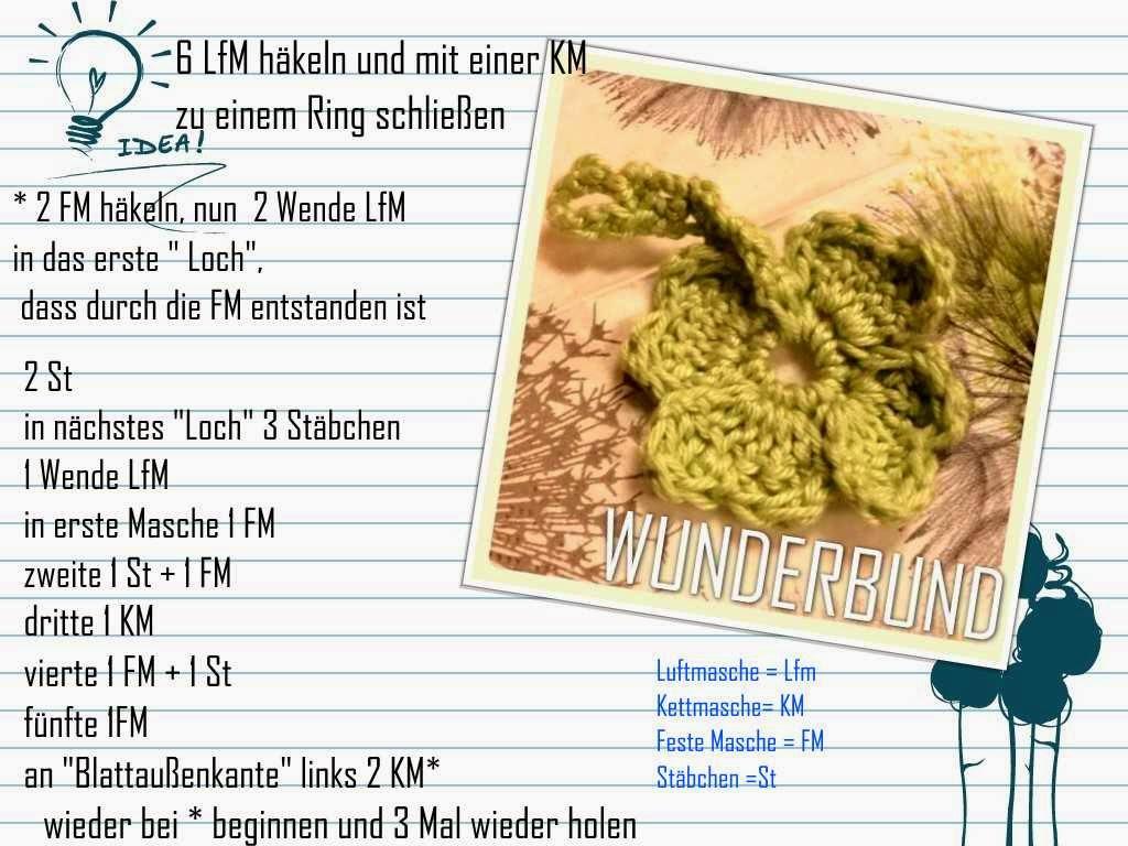 Wunderbund Glückskleeblatt Kostenlose Anleitung Free Pattern