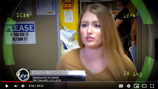 Snapshot from Youtube video featuring still image of Caitlan McGough in a lab setting
