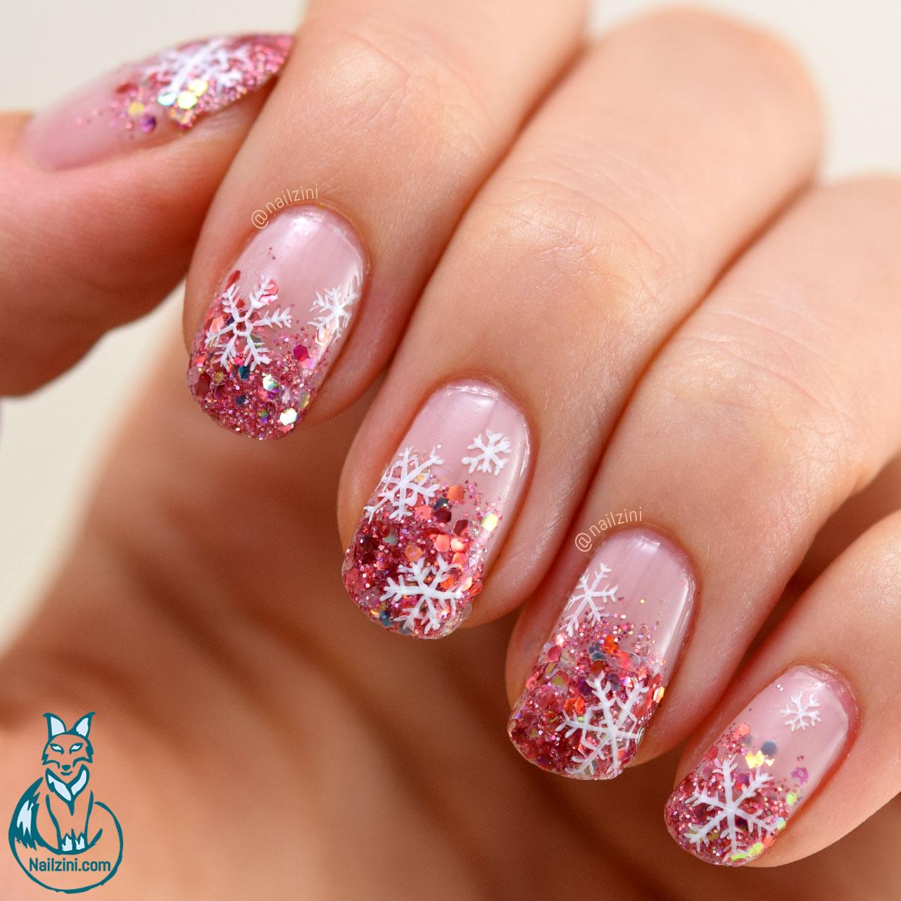 Glitter Gradient Snowflake Nail Art -- Born Pretty Review ...