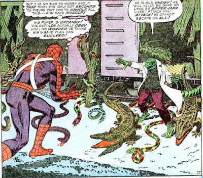 Amazing Spider-Man #45, John Romita, the Lizard and his reptile army depart the train and confront our hero