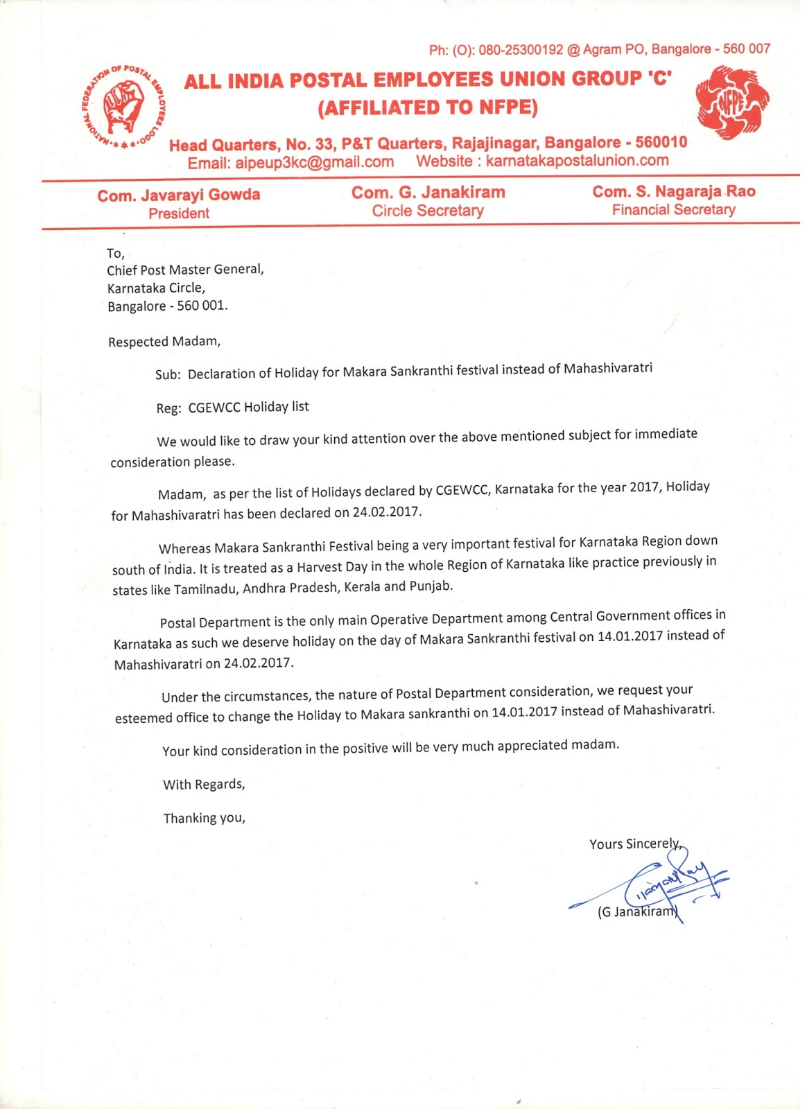 the shimoga post letter sent to cpmg for declaration of holiday letter sent to cpmg for declaration of holiday for makara sankranthi festival instead of mahashivaratri on 21st 2016