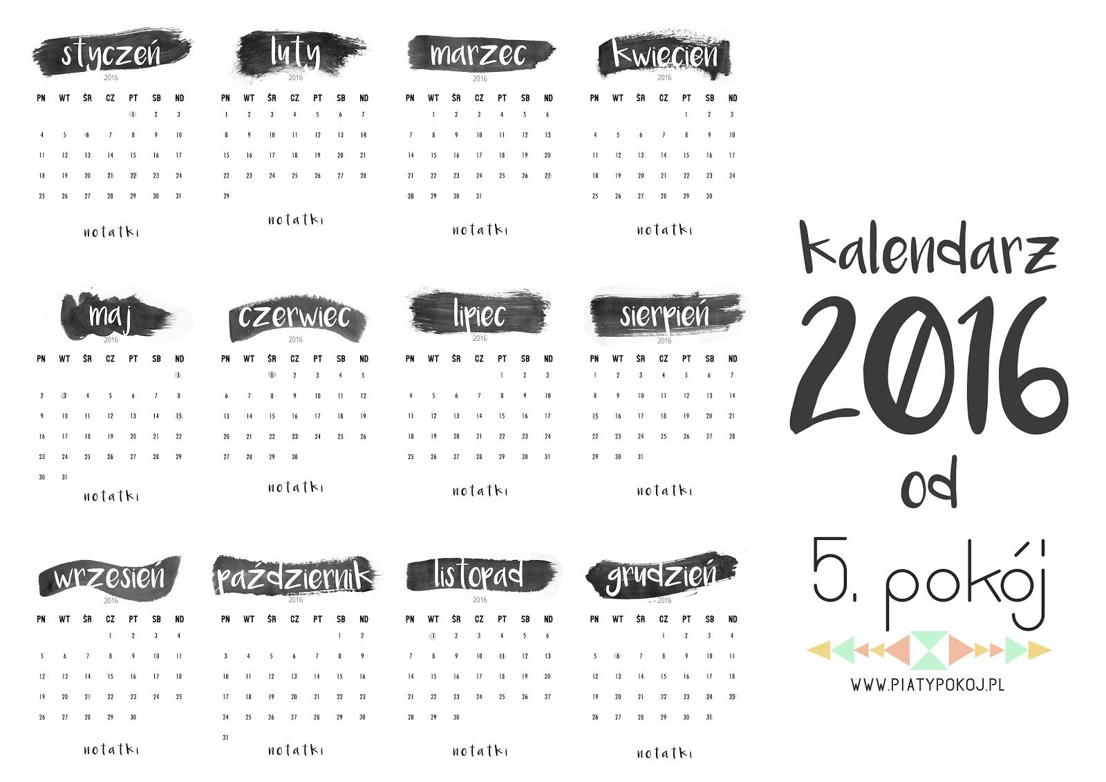 minimalistyczny kalendarz 2016 do druku
