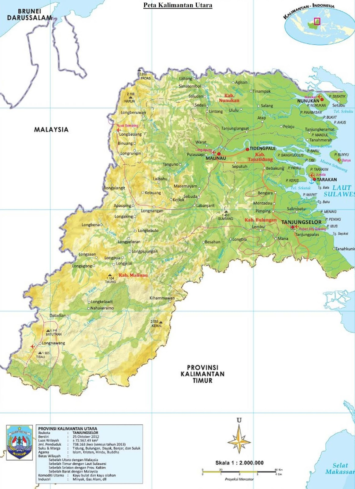 Peta Kalimantan Utara HD