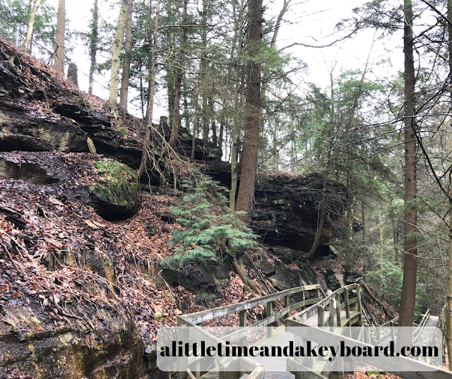 Hike along the boardwalk through the gorge of Mill Park in Youngstown, Ohio
