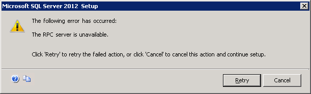 SQL Server 2012 Upgrade: The RPC Server is Unavailable