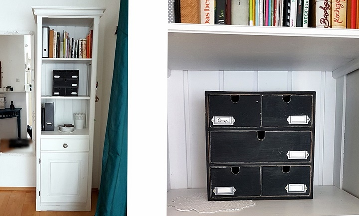 Schubladenkommode mit schwarzer Tafelfarbve