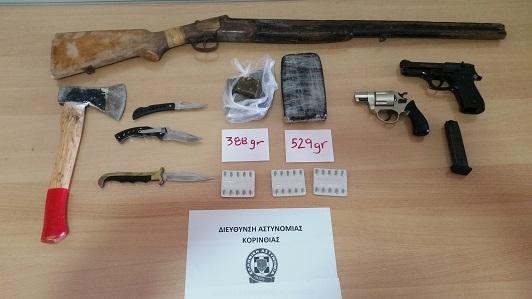 Πέντε συλλήψεις στην Κορινθία με ναρκωτικά και όπλα