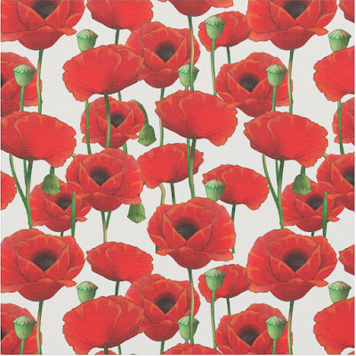 Red Poppy Pattern Fabric