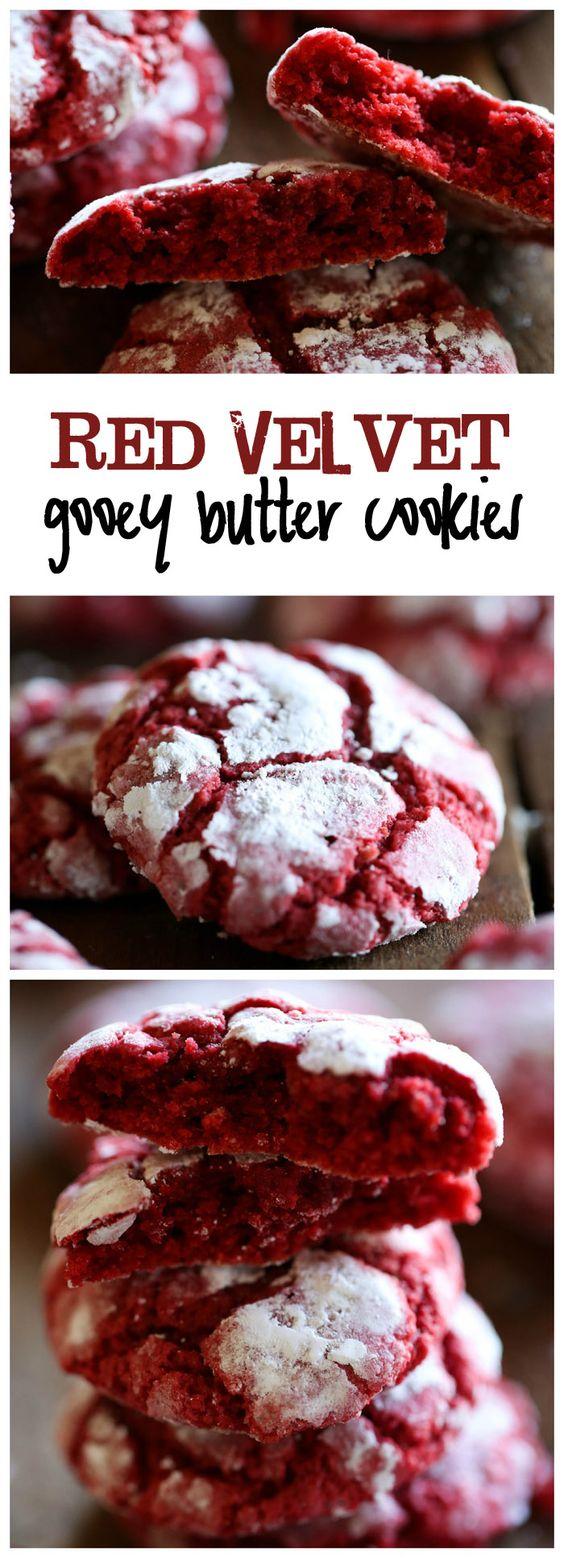 Red Velvet Gooey Butter Cookies #redvelvet #gooey #butter #cookies #cookiesrecipes