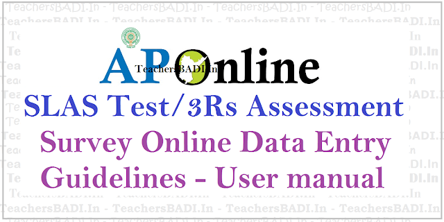 AP SLAS Test,3Rs Assessment Survey,Online Data Entry Guidelines,User manual