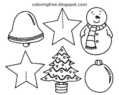 Holiday decorations B & W Xmas tree outline star young kids easy to draw Christmas clipart shapes