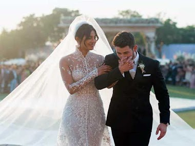 Priyanka Chopra's wedding gown was written on the name of Nick Jonas, and what was special
