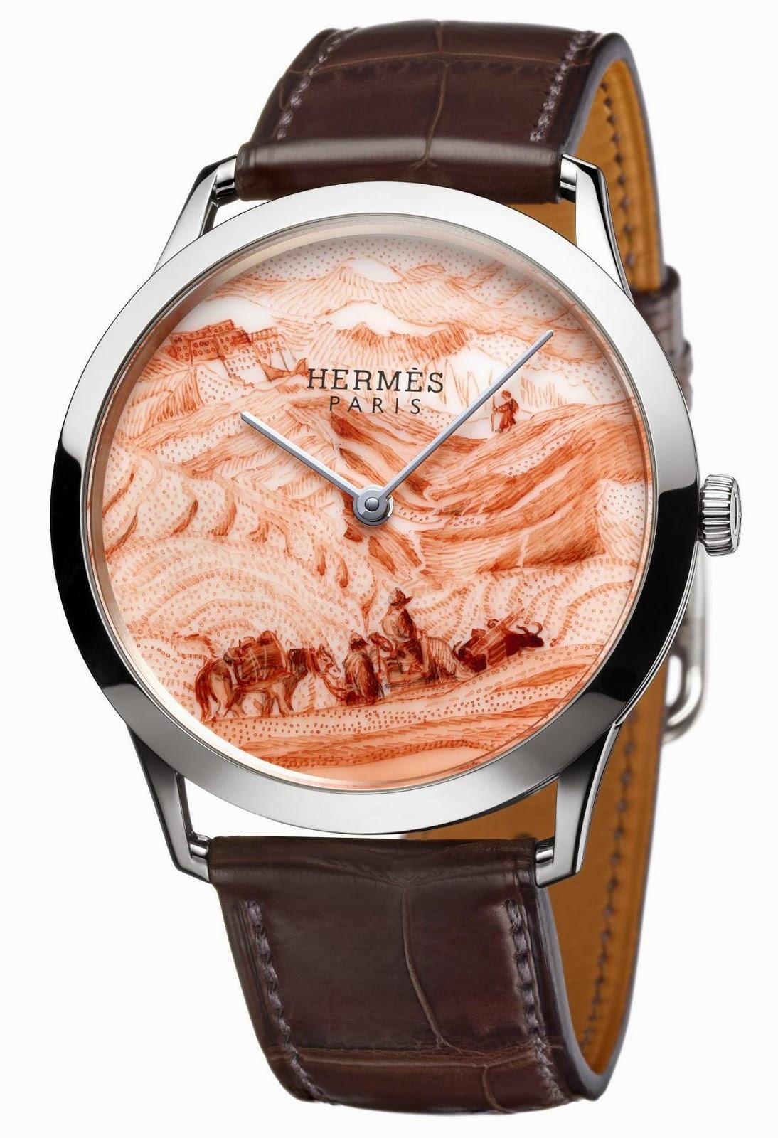 HERMÈS – Slim d'Hermès La femme aux semelles de vent Limited Edition watch with Porcelain dial from the French Manufacture Nationale de Sèvres