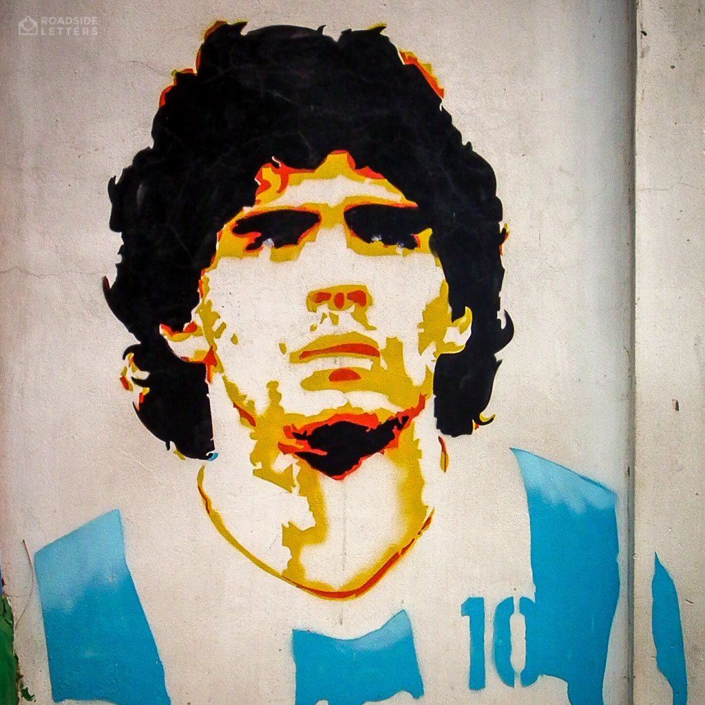 Mural with the face of Diego Maradona in Buenos Aires